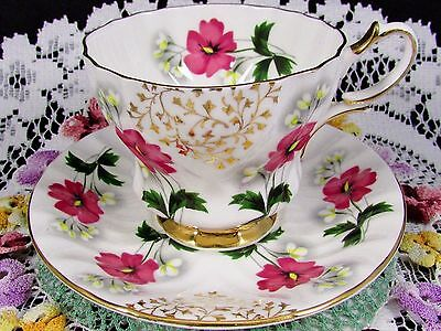 Queen Anne Magenta Pink Floral Gold Designs Tea Cup And Saucer