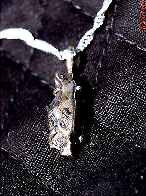 "Rare Sikote Alin Meteorite pendant Sterling silver necklace W/18"" 2MM chain"