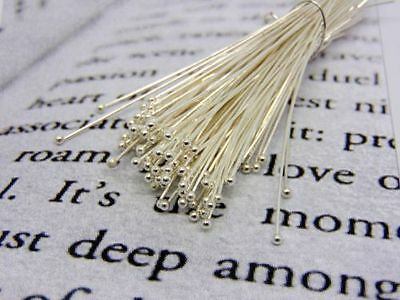 100 x 14mm Silver Plated Ball Head Pins  Jewellery Craft Findings R170
