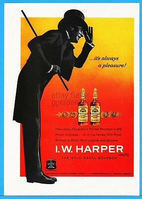 1960 IW Harper Kentucky Bourbon Whiskey Top Hat Cane Pleasure Print Ad