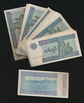 Burma - Mynamar Lot Of 100 Of The 1 Kyatt Cu