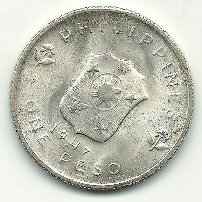 High Grade Unc 1947 S  Philippines One Peso Coin-Douglas Macauthur-Dec459