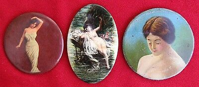 Antique Assortment Of 3 Gentlemens Risque` Lady Pocket Mirrors  ~ 1 Nude
