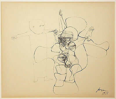 Original Signed Abstract Figures Ink Drawing Unknown Artist 1966