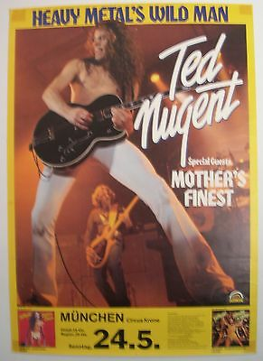 Ted Nugent Mother's Finest Concert Tour Poster 1981 Intensities In 10 Cities