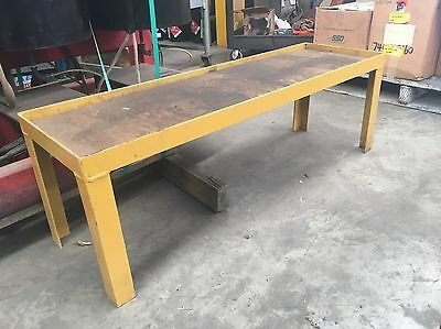 Industrial Yellow Steel Frame Bench Table Seat