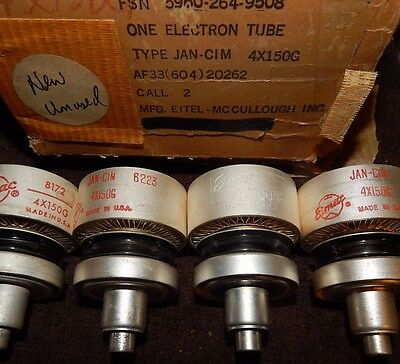 4 Pieces Nos Eimac Vintage Jan Cim 4X150G 150-G Ham Radio Tubes Quad Usa Made