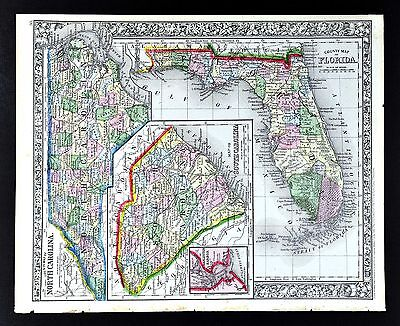 1862 Mitchell Map Florida Miami St. Augustine & North South Carolina Charleston