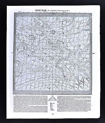 c. 1880 Star Map Chart with Zodiac Signs Equatorial 0-45 / 315-360 West Cosmos