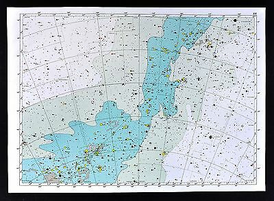 1950 Star Map Chart Centaurus Puppis Vela Pyxis Constellation Milky Way Universe