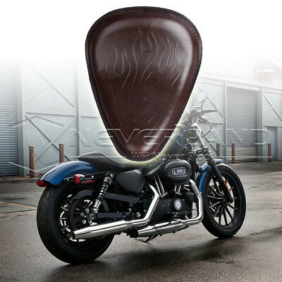 """11.8"""" Flame Brown Solo Front Seat For Harley Chopper Custom Suzuki Honda Leather"""
