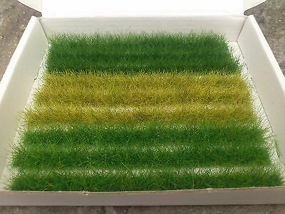 9 mixed Grass Strips for model railway, dioramas, gaming etc