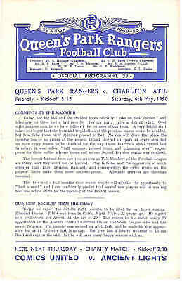 QUEENS PARK RANGERS v CHARLTON ATHLETIC  FRIENDLY  May 1950