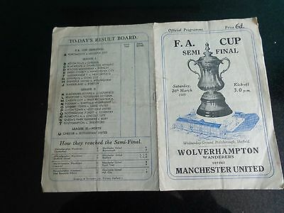 WOLVES v MANCHESTER UNITED FA CUP SEMI FINAL at Sheffield Wednesday 1949