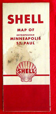 1953 Minneapolis St. Paul Minnesota City Streets Map Shell Oil t4c