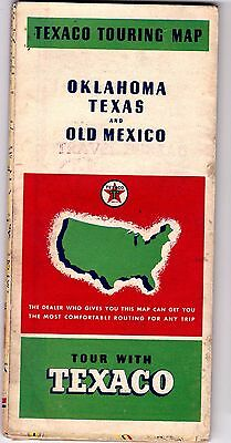 1937 Texaco Touring Map of Texas Oklahoma & Old Mexico jsc