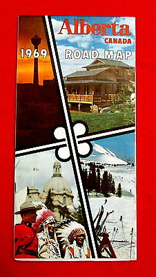 1969 Alberta Official Highway Map Government issue t4c