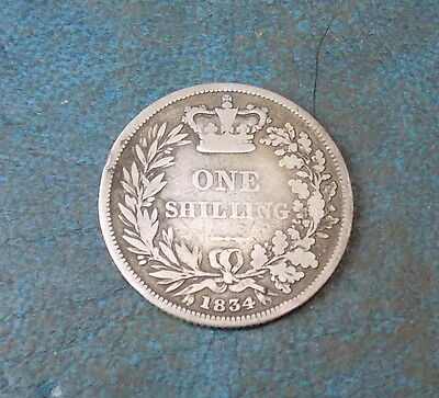 1834 William Iv Sterling Silver Shilling Coin Very Nice Collectable Condition