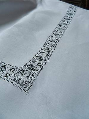 Huge 12ft antique Victorian white Irish linen damask banquet tablecloth 3.6m