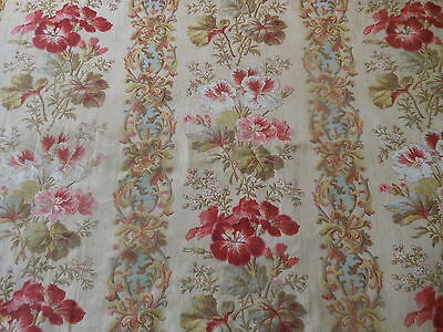 Antique French Geranium Floral Scroll Cotton Fabric ~ Red Pink Blue Sage
