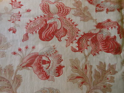 Antique 19thc French Botanical Orchid Floral Cotton Fabric ~ Old Red Soft Pink