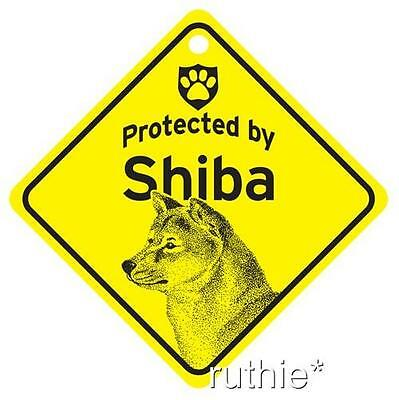 Protected by Shiba Dog Window Sign Made in USA