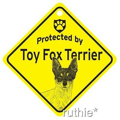 Protected by Toy Fox Terrier Window Sign Made in USA
