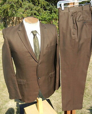 Sweet Vintage 1960s SHARKSKIN Suit 39S 30x26 - a Bronze Vegas Rat Pack Unit