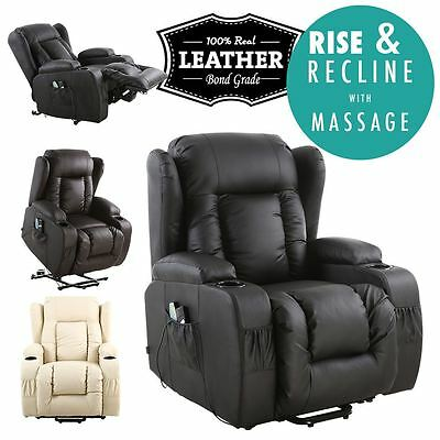 Caesar Electric Rise Recliner Winged Leather Armchair Massage Heated Chair