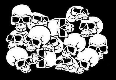 high detail airbrush stencil skull pile eight FREE UK POSTAGE