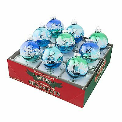 Radko Shiny Brite Winter Frost Ombre 9 Count Signature Flocked Glass Ornaments