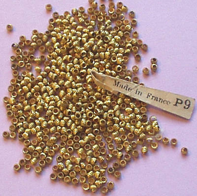 RAREST ANTIQUE GOLD TWISTED TINY FRENCH STEEL CUT BEADS wTAG