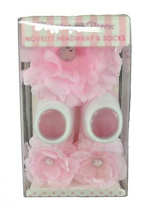 Stepping Stones Infant Girls Pink Novelty Headwrap & Socks Size 0-12M