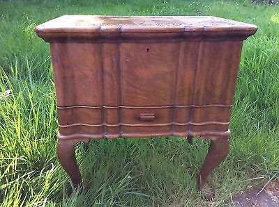 Ornate Vintage Wooden Sewing Box With Cabriole Legs & Drawer
