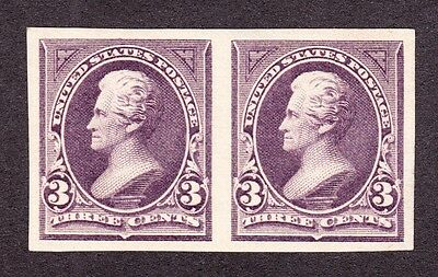 US 266P5 3c Jackson Proof Pair on Stamp Paper XF-Gem OG H
