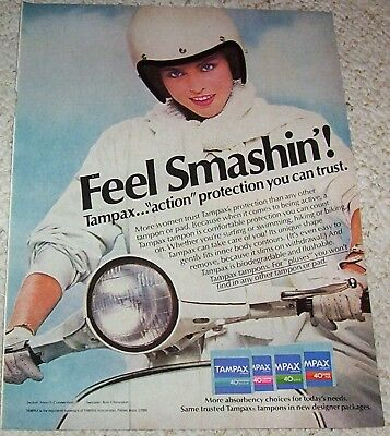 1981 ad page - Tampax tampons CUTE GIRL on Scooter Vintage PRINT ADVERT