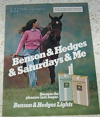 1981 ad page - Benson & Hedges Cigarettes cute girl smoking horse vintage ADVERT