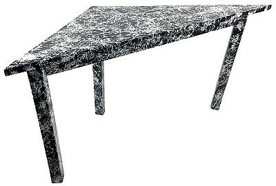 Midcentury Mod Look Uneven Odd Triangle Accent Table Black White Splatter Paint