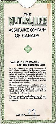 Mutual Life Assurance Company of Canada Insurance Policy Envelope 1950s meac12