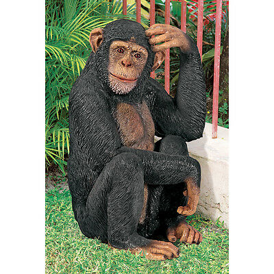 Cheeta Chimpanzee Wildlife Monkey Sculpture Jungle Primate Home Garden Statue