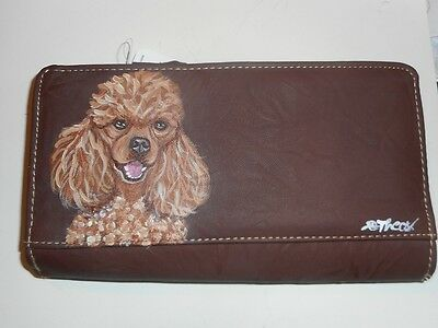 Apricot Poodle dog Hand Painted Ladies Leather Designer Wallet Vegan