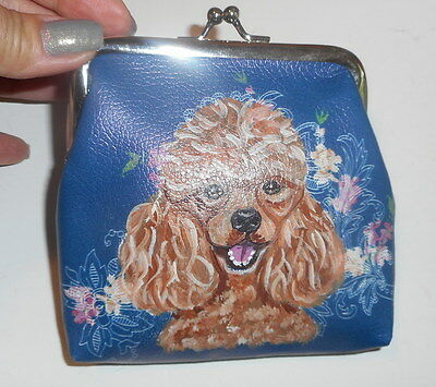 Apricot Poodle dog Hand Painted Leather Coin Purse Vegan Mini wallet