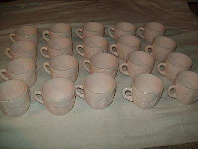 20 Jeanette Glass Co Shell Pastel Milk Glass Punch Cups
