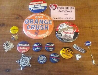 Vintage Pin Back Buttons & Pins Mixed Lot Neat Stuff All Original Items Must Go
