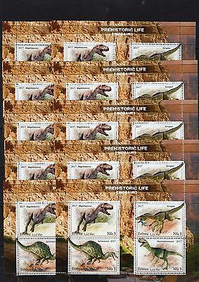 10x Dinosaurs.Prehistoric Reptiles - 2017 - perforated! - (3)- Private issue!!