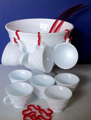 Vintage Indiana Milk Glass Pedestal PUNCH BOWL SET with 8 cups hangers 2 ladles