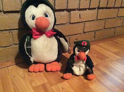 "2 Coca cola Delivery penguins 13"" plush+7 1/4"" bean bag 1998/1997"