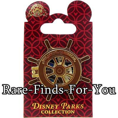 """Disney Park Pirates of the Caribbean """"Hinged"""" Ships Wheel Pirate Trading Pin NEW"""