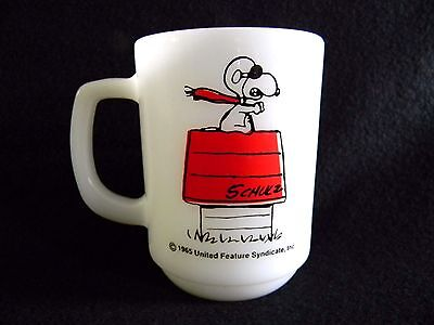 "Rare 1965 SNOOPY ""Curse You, Red Baron!"" COLLECTOR FIRE KING MUG"