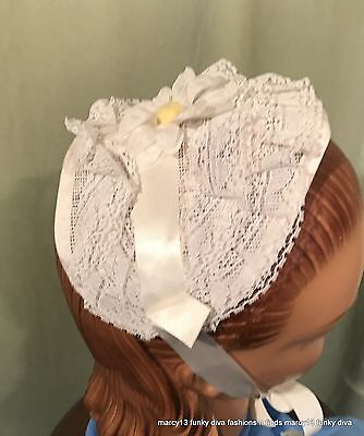 Charming Vintage 50's 60's Girl's Lacy White Floral Easter Half Bonnet 1 Size